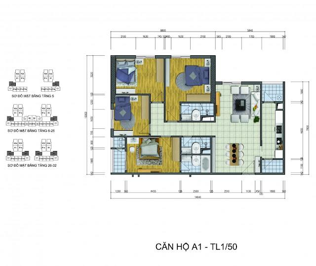 Thiết kế căn hộ A1 Goldsilk Complex