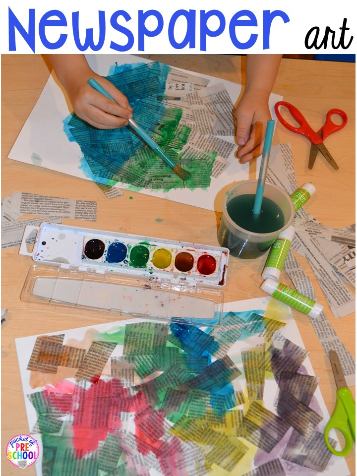 Earth Day Art Newspaper Cutting And Painting Collage Plus Free Earth Day Vocabulary
