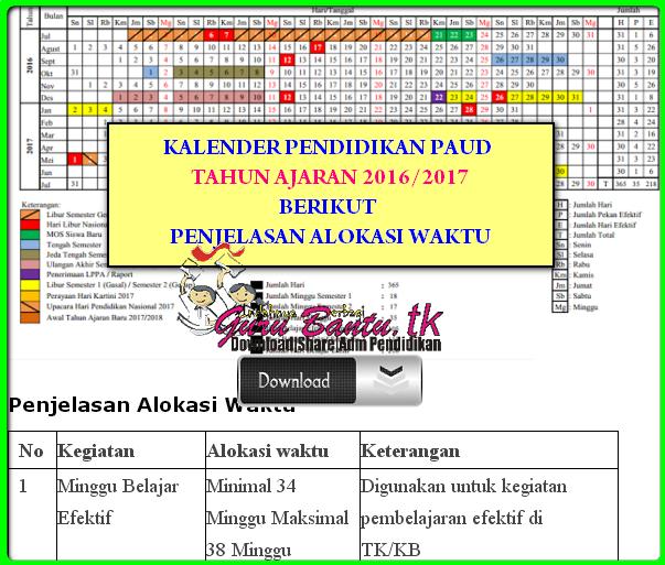 Kalender Pendidikan PAUD 2016/2017 Lengkap Dengan Penjelasan Alokasi Waktunya