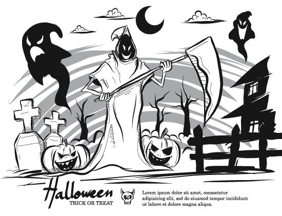 Halloween diferente en blanco y negro