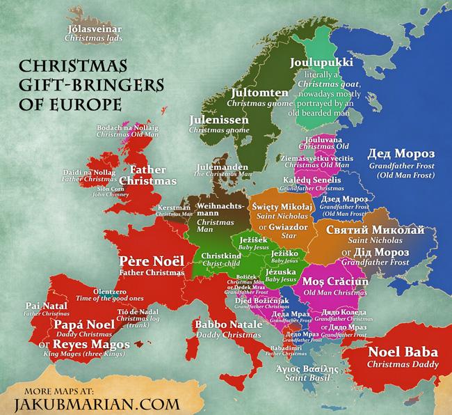 Christmas gift-bringers of Europe