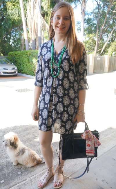 Zara navy printed bib tunic dress with matching Regan handbag colourful green necklace and LV scarf | away from blue