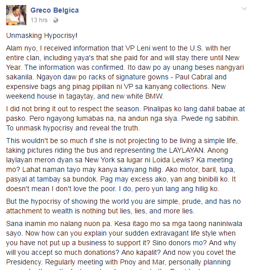 MUST READ: Greco Belgica Reveals VP Leni Robredo's 'Hypocrisy' With U.S. Trip, Expensive Bags, New BMW, And Tagaytay House!