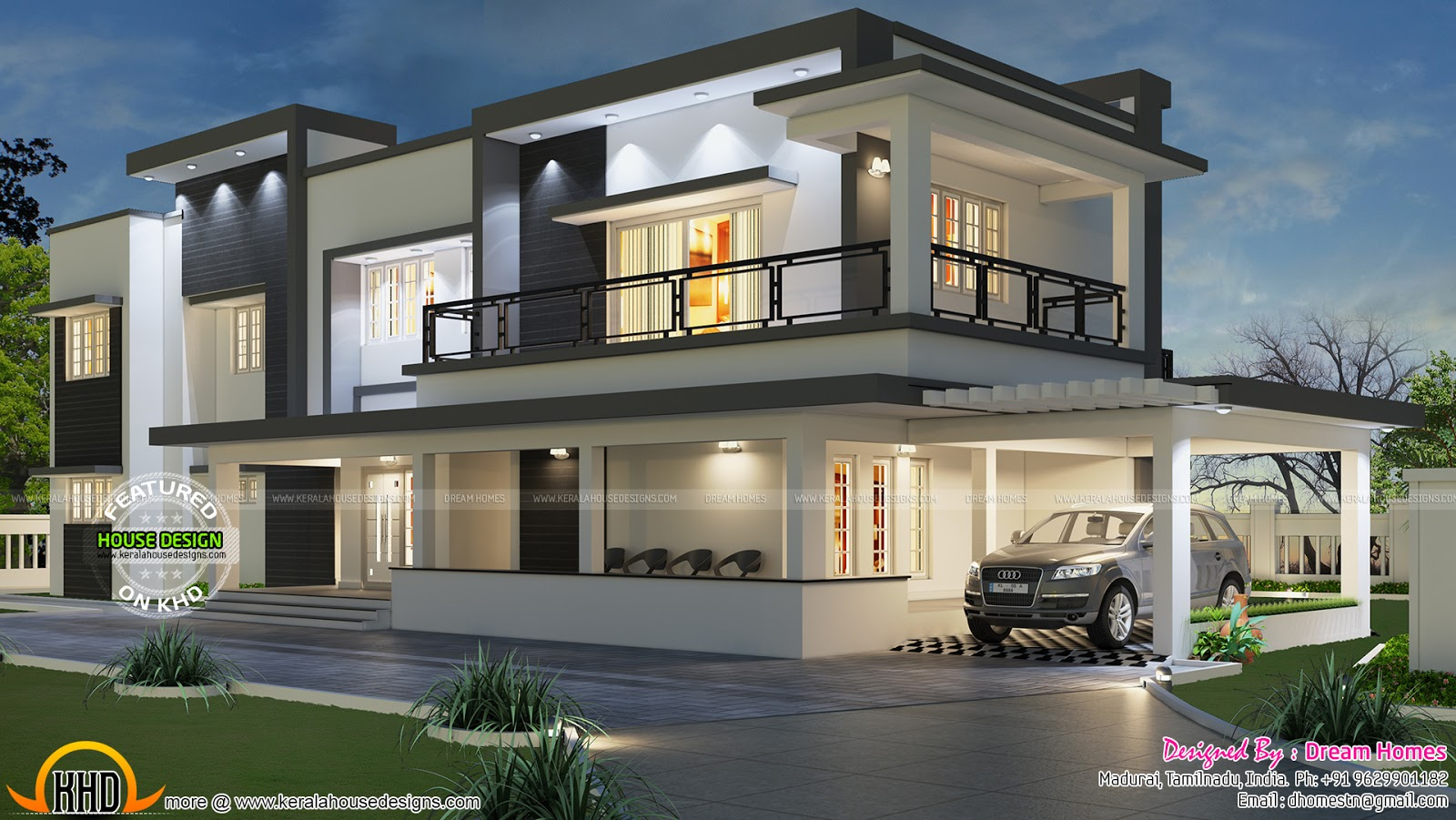 Free floor plan of modern house   Kerala home design and floor plans Modern flat roof house in Tamilnadu