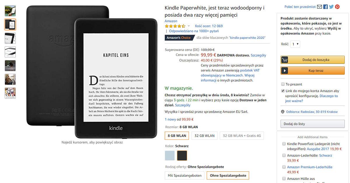 Kindle Paperwhite 4 za 99,99 EUR