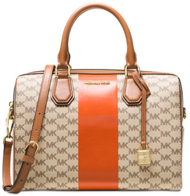 8af13f737abc MICHAEL Michael Kors Signature Stripe Medium Duffle Retail Price: USD328  Price: RM1870. Colour: Natural/Orange