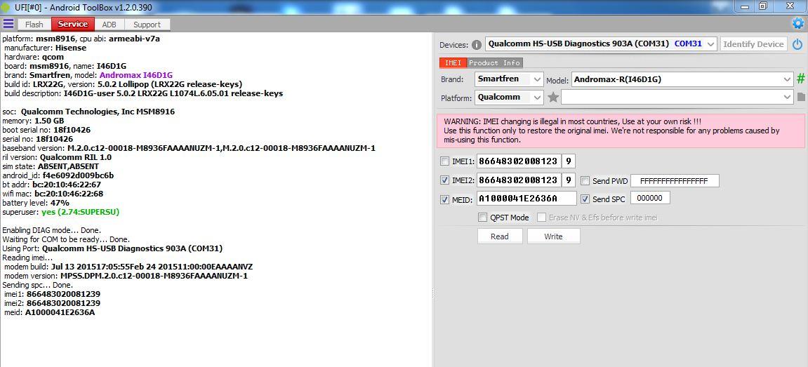 Cara Fix MEID / IMEI Null Andromax R I46D1G Menggunakan UFI Box