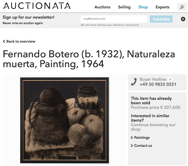 If Botero sold with so many bids where is it on auctionata.com
