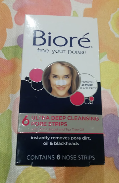 Biore pore strip on multicoloured background