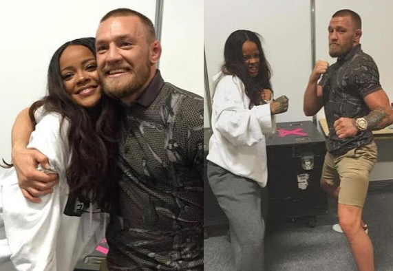 Rihanna chills backstage with UFC f!ghter Conor McGregor at her concert (see photos)