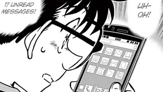 Conan checking missed notifications on his phone.