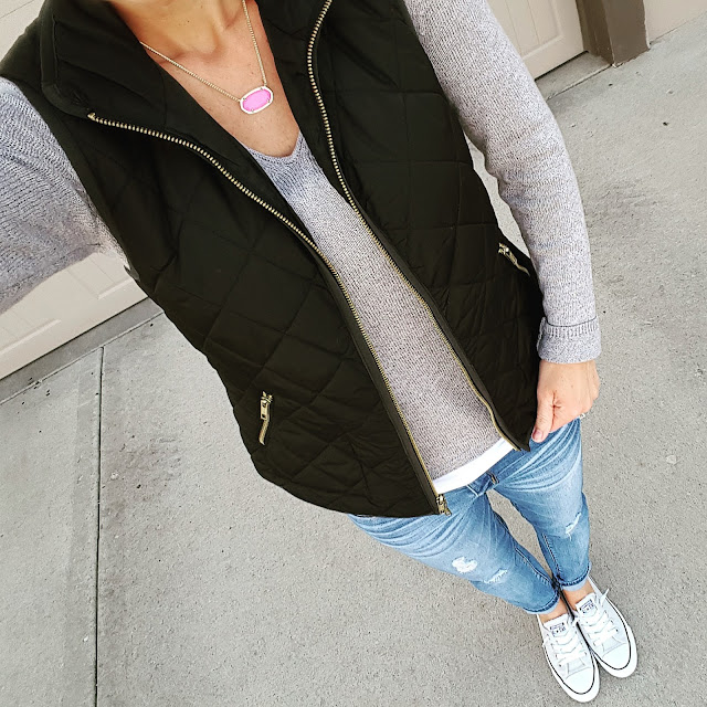 Basics: gray sweater, quilted black vest, jeans, and Converse sneakers, www.wearitforless.com