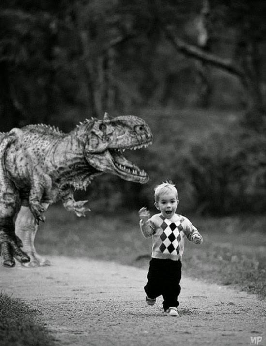 Funny Dinosaur Chasing Child Photoshop Joke Picture