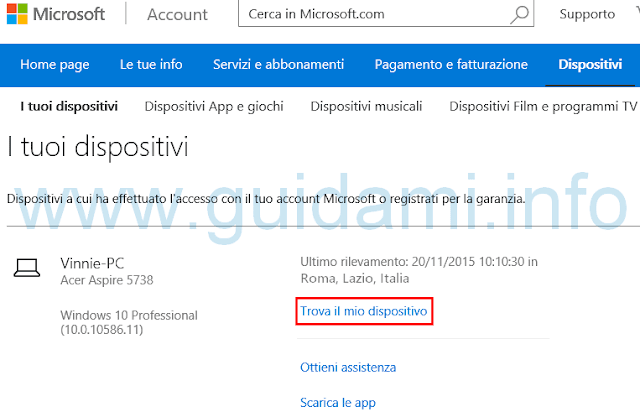 Windows 10 sito e link Trova il mio dispositivo