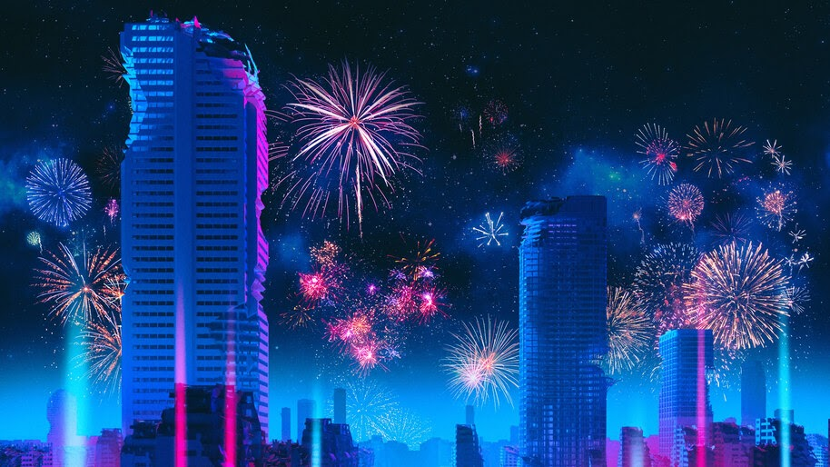 City, Fireworks, Buildings, Scenery, Digital Art, 4K, #4.2051