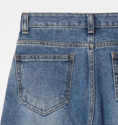 Striped Whisker Wash Jeans