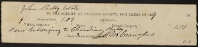 Augusta Co., VA Tax Receipt for John Shelly's estate land belonging to Christian Shelly