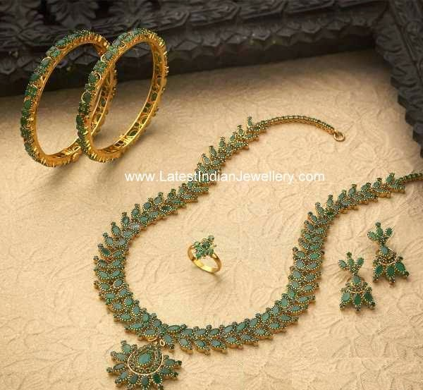 Emerald Haram Bangles And Ring Set Latest Indian