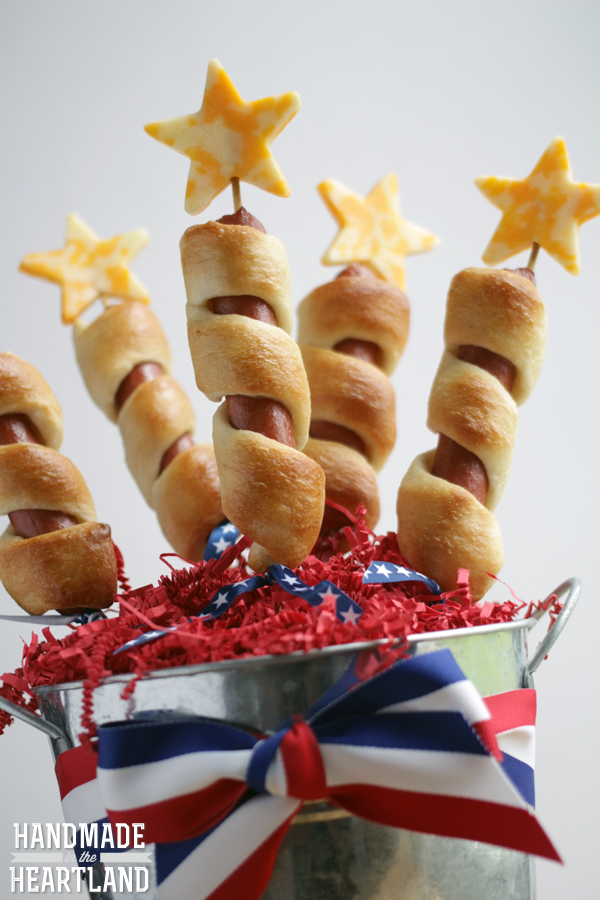4th of July Firecracker Hot Dogs on a stick.