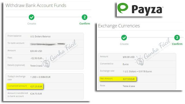 payza taxa fee withdraw levantar banco dinheiro receber exchange