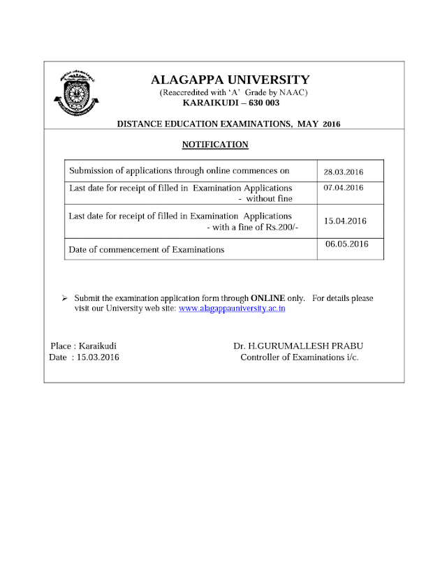 Alagappa University Distance Education Examinations May 2016- Notification