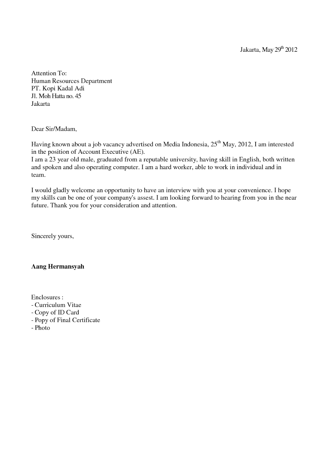 Contoh Surat Lamaran Kerja Pos Indonesia