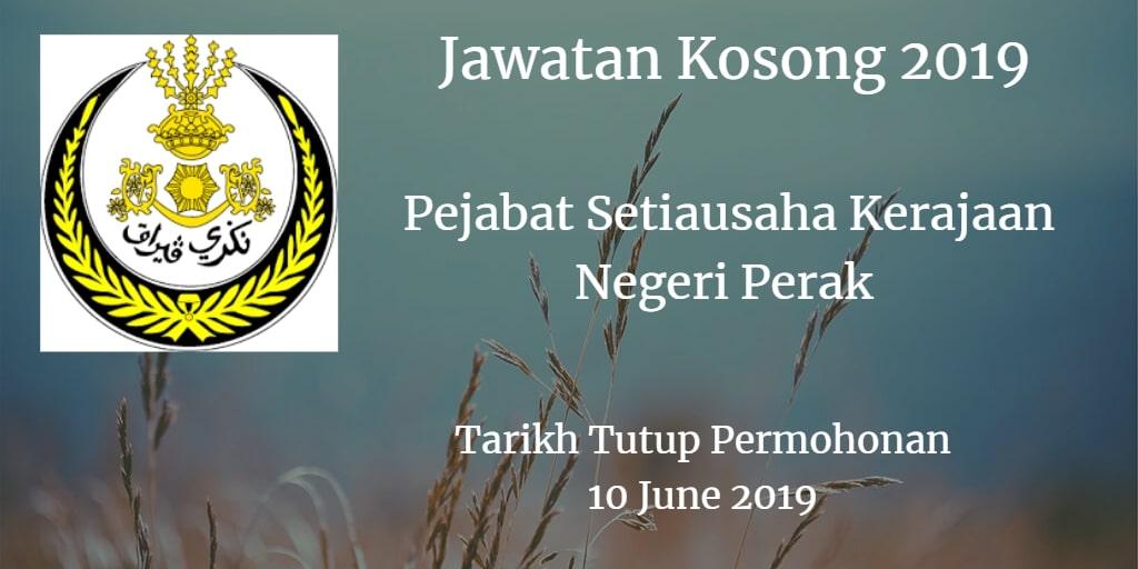Jawatan Kosong Pejabat Setiausaha Kerajaan Negeri Perak 10 June 2019