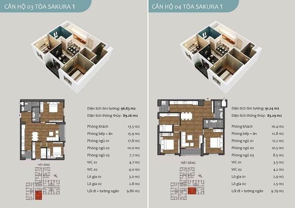 Chi tiết căn hộ 03 chung cư Sakura 1
