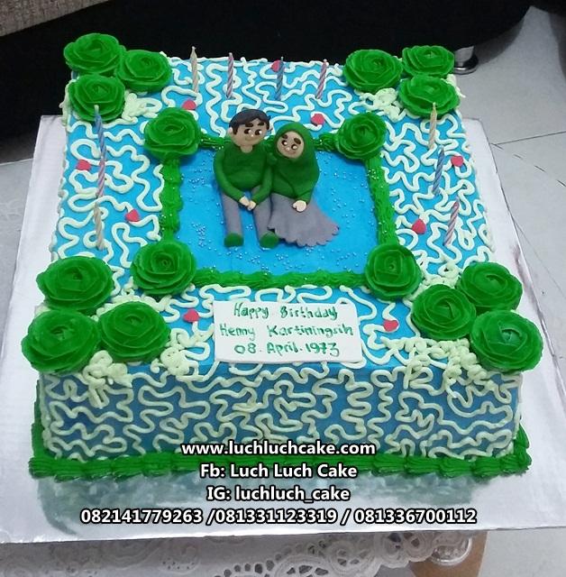 Kue Tart Ulang Tahun Romantis Warna Hijau - Biru