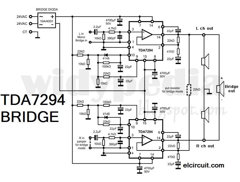 Bridge Tda 7294 Power  lifier on home circuit diagram