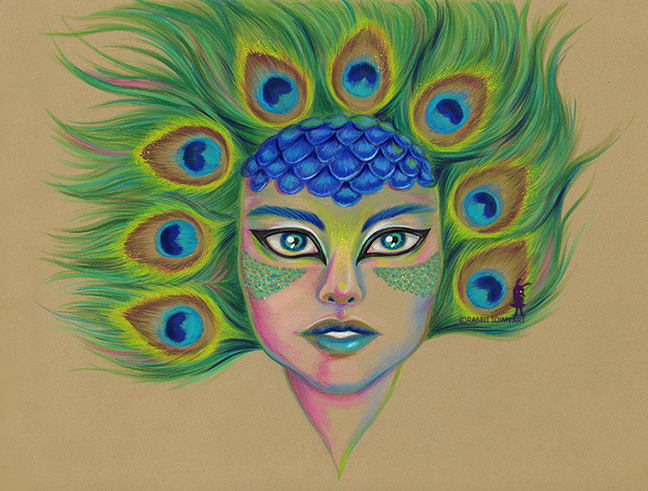 A face drawing done by Marta Tesoro aka Rabbit Town Art and was drawn using color pencils and copic markers