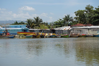 Boats at the mouth of the Black River, St. Elizabeth, Jamaica