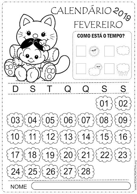 Calendários 2019 para imprimir fevereiro 2019 turma da Mônica baby