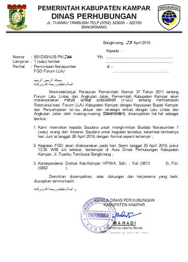 Contoh Surat Permintaan Narasumber