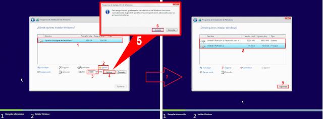 Para asegurarse de que todas las características de Windows funcionen correctamente, es  posible que Windows cree particiones adicionales para los archivos de sistema.