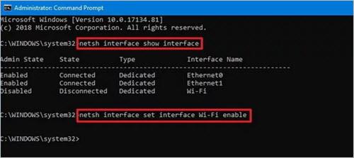 Tắt Card Mạng trên Windows 10 bằng Command Line