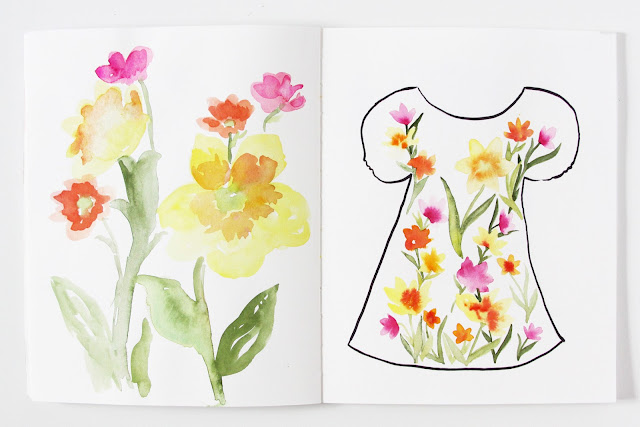 2x2 sketchbook, watercolor, sketchbooks, spring flowers, watercolor flowers, fashion design, fabric design, Dana Barbieri, Anne Butera