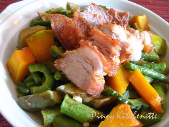Pakbet With Lechon Kawali Pinoy Kitchenette
