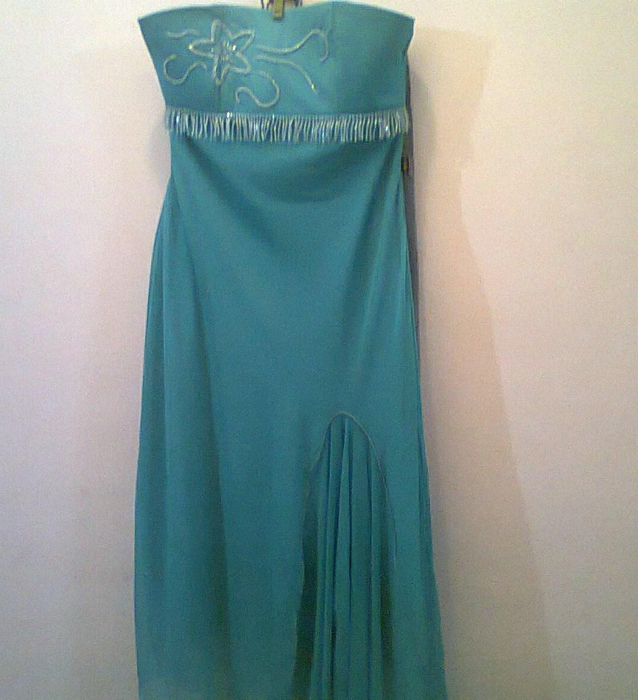 9d93361e17 Vestidos em seda bordados tam. 40 tomara-que-caia verde turquesa e verde-abacate  30