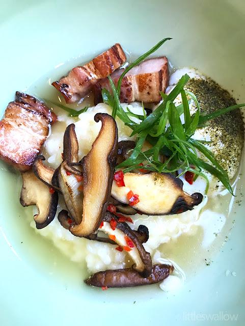Kensington Street Social: Breakfast rice, slow cooked hen's egg, shiitake mushroom, pork belly, bacon dashi