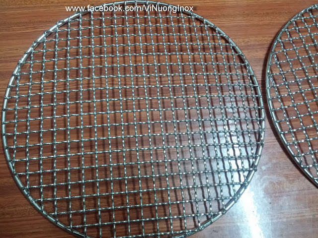 Vỉ nướng inox tròn tay cầm 29.5cm cho bếp nướng không khói Hàn Quốc