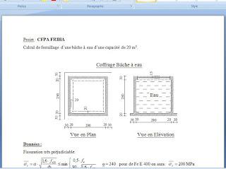 exemple de calcul ferraillage pour b che eau de 20 m3. Black Bedroom Furniture Sets. Home Design Ideas