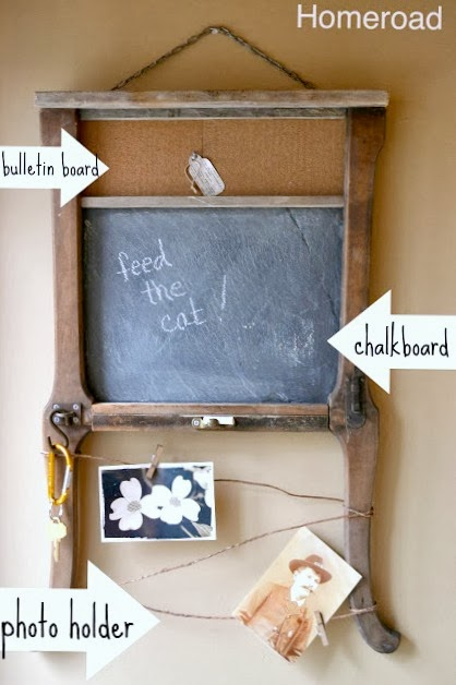 repurposed chair table leg and chalkboard