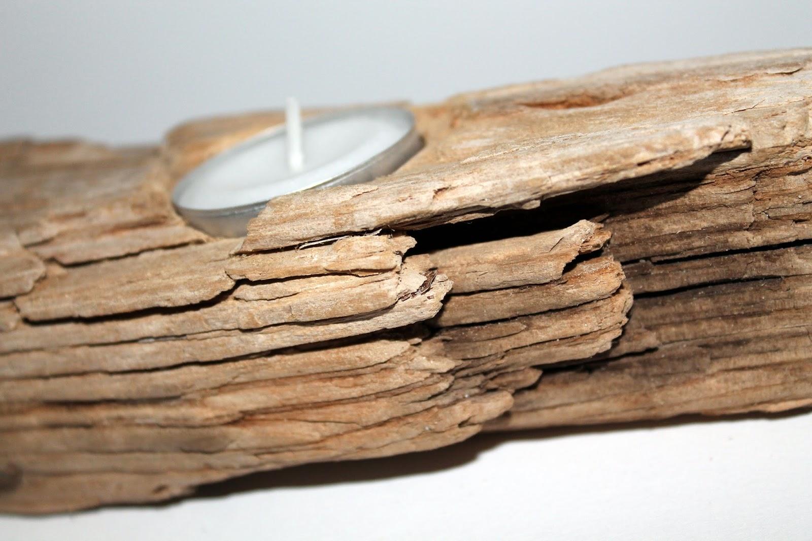 DIY, Basteln: Treibholzteelicht aus Holz als Geschenkidee und Wohndekoration - DIYCarinchen