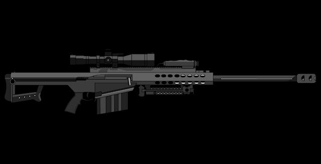 Barrett M82 é um fuzil de precisão que dispara munição de grosso calibre (.50 BMG, com 12,7 mm de diâmetro)