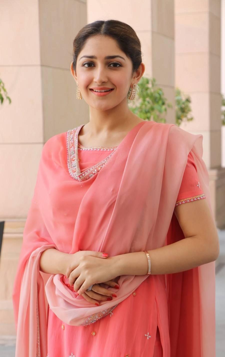 Indian Model Sayyeshaa Saigal Hot In Pinks Punjabi Dress