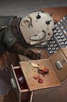 El protagonista durmiendo sobre la mesa.