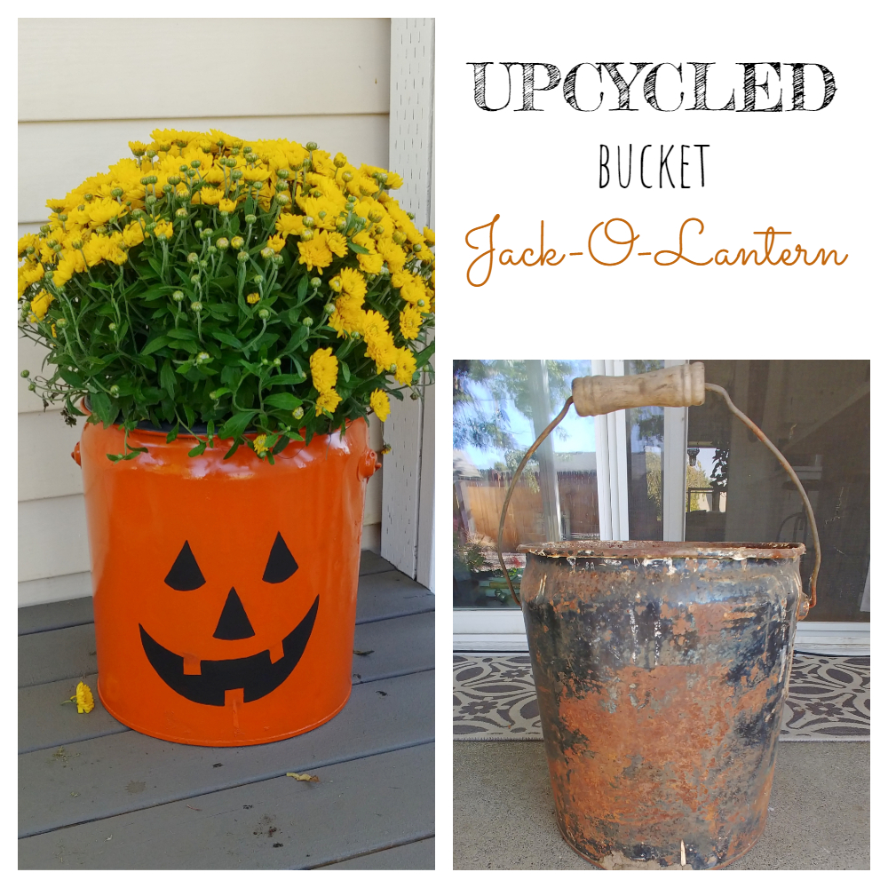 Upcycled Bucket Jack-O-Lantern