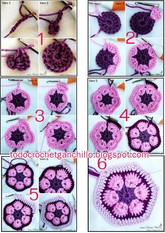 Paso a paso flor africana hexagonal ganchillo