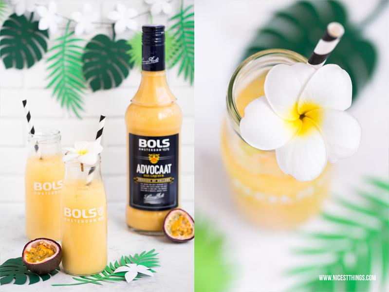 Bols Advocaat Maracuja Flip Cocktail mit Eierlikor und Maracujasaft